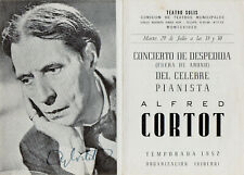 ALFRED CORTOT PIANIST SIGNED PROGRAMME TEATRO SOLIS MONTEVIDEO 1952 SEASON