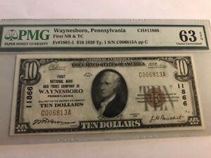 RARE HIGH GRADE 1929 $10 First National Bank WAYNESBORO, PENNSYLVANIA PMG 63