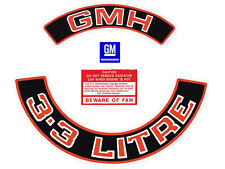 """Holden 6Cyl Engine Bay Decal Kit Red """"GMH"""" """"3.3 Litre"""" HZ VB air cleaner sticker"""