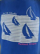 Portland Oregon Sailing The Columbia River Vintage 1990 Large T Shirt USA