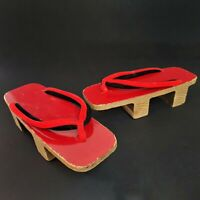 Vintage Japanese Geta Sandals Geisha Shoes Red Wood Thong Authentic Traditional