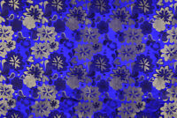 "BY 1/2 YD. X 46"" SILK DAMASK JACQUARD BROCADE STAIN FABRIC : FLORAL ROYAL BLUE"