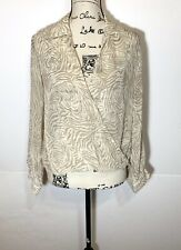 Love Stitch Sheer Tiger Stripe Surplice Blouse Size S Ivory & White