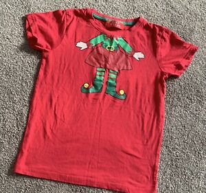 GIRLS RED CHRISTMAS ELF COTTON T-SHIRT TOP AGE 9-10YRS GREAT CONDITION
