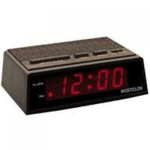 Westclox Wood Grain Finish Digital Red Led Alarm Clock 22690
