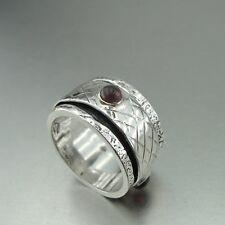 Garnet 925 Sterling Silver Brass Spinner Ring Jewelry ss80