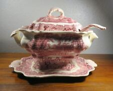 Mason's Vista Red Large Bedford Soup Tureen with Ladle & Underplate