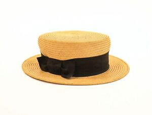 Antique Victorian Men Hat Straw Beige J Webber European Size 5 ½ Black Ribbon