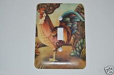 Wow Vintage Metal Colorful Rooster Art Unique Light Switch Plate Rare