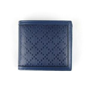 Gucci Men's Blue Diamante Leather Bifold Wallet with Coin Pocket 237359 4232
