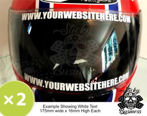Helmet Visor Stickers YOUR WEBSITE sunstrip sticker ANY CUSTOM TEXT 21 COLOURS!