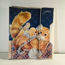 Vintage 1991 Mead Sophisticats cat playing with cord 3 Ringbinder