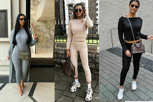 Women's Ladies Loungewear Co-ord Top Legging Chunky Cable Knitted Tracksuit Set