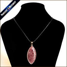 Men Natural Strawberry Quartz Gemstone Pendant Fashion Jewelry Crystal Necklace