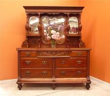 Walnut Mirror Welsh Dresser Sideboard 1800s carved & turned seven drawer