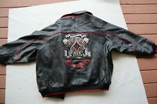 Vintage Heavy Black Leather AVIREX Gamblers Club Insulated Snap & Zip Jacket 6XL
