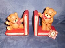 1985 Enesco Lucy & Me Porcelain Bisque Teddy Bear Book Ends
