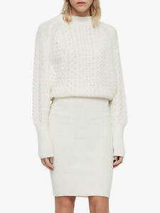 AllSaints Dilone Lambswool Cashmere Knit Jumper Midi Dress White Size S NEW