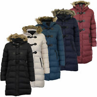 Ladies Long Parka Bubble Jacket Brave Soul Womens Coat Padded Hooded Fur Quilted