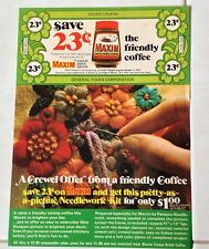 Vintage Maxim Freeze Dried Coffee Original Print art ad Coupon Crewel Offer 1973
