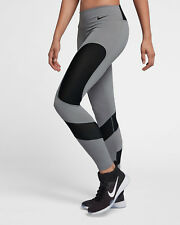Nike Power Pocket Lux Women's Training Tights M Gray Black Running Mesh Gym New