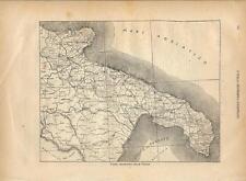 Carta geografica antica PUGLIA PUGLIE 1891 Old antique map