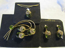 COMPLETE SET Vtg 1960s Sarah Coventry Touch of Elegance brooch-earrings-necklace