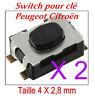2 Switch bouton de clé pliante télécommande plip Peugeot Citroen clef repliable