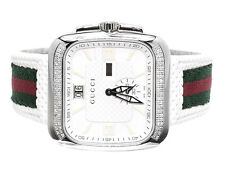 Mens White Gucci Coupe Red Green Flag Band Diamond Sports Watch 1.0ct YA131303