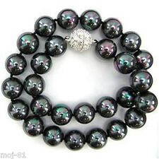 12mm Genuine Rainbow Black South Sea Shell Pearl Necklace 18'' AAA+