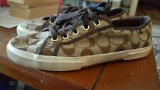 Womens Authentic Coach Canvas Sneakers size 9 brown multi