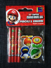 Lot 4 crayons & gommes Super Mario Bros Wii Nintendo