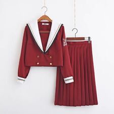 Japanese Sailor School Uniform JK Women Girl wine red Costume suit Dress size S