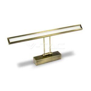 Lampada LED 8W da specchio wall light metallo oro spazzolato V-TAC VT-7009 4000K