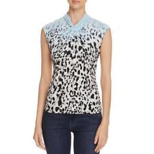 Calvin Klein 8204 Womens Blue Animal Print Sleeveless Pullover Top L/XL BHFO