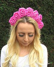 Large Hot Pink Rose Flower Hair Crown Headband Festival Vintage Garland Foam 2AY
