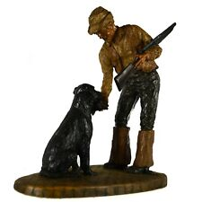 (Signed) Duck Hunter Dog Resin Sculpture Figurine Retriever Black Lab Man Art