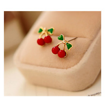 Cherry Stud Earrings Ladies Girls Gift Red Cherries Gold Stalk Green Leaf Fruit