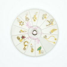 Mix 12 Dangle Style Gold Metal Alloy Charms Nail Art Jewelry 3D DIY Decorations