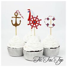 12 x Sailing Boat Club CUPCAKE CAKE TOPPERS Party Anchor Sea Swimming