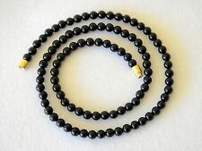 """Genuine Natural 4mm Black Onyx necklace Round Beads 16"""" 4 mm Black Onyx Beads"""
