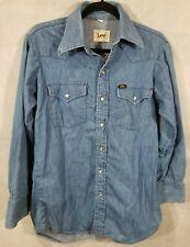 Vintage Men's Lee Denim Long S Shirt 15- 32 Western Cowboy Snap Buttons USA Made