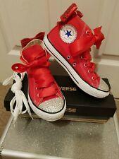 Bespoke, embellished, handmade, kids red converse, size 2, worn twice.