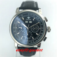 42mm Ossna Stainless Steel Automatic Movement Day&Date Moon Phase Mens Watch