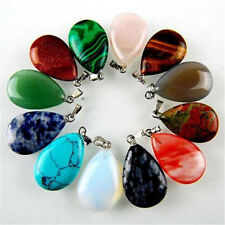 12PCS MGTCY110 Charming Multicolor Mixed Gemstone Teardrop Pendant BeadRL