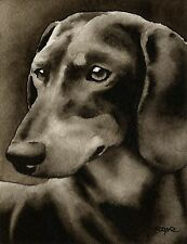 Dachshund Black And Tan note cards by watercolor artist Dj Rogers