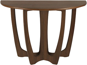 RANDEFURN Wooden Console Table, Half-Moon Shape Entryway Table, Semicircle Side