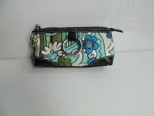Isabella Fiore Multi Print Blue Green Stripe Canvas Leather Floral Wristlet Bag