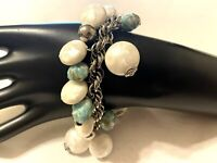 """Vintage Silver Tone Rope Chain Bracelet Faux Pearl Chunky Charm Dangle 7"""""""
