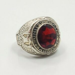 Great Vintage Sterling Silver 925 US Army Red Glass Men's Ring Size 9